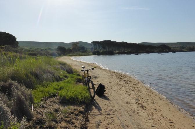 Beach,lagoon,Sardegna mountain bike